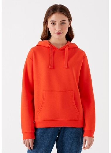 Mavi Kapüşonlu Turuncu Sweatshirt Oranj